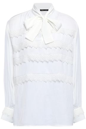 MAJE Pussy-bow lace-trimmed crepe de chine blouse