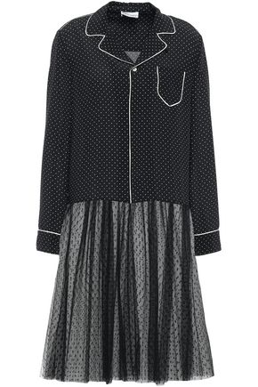 REDValentino Paneled silk crepe de chine and point d'esprit midi dress