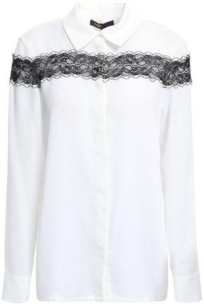 MAJE Lace-trimmed crepe de chine shirt
