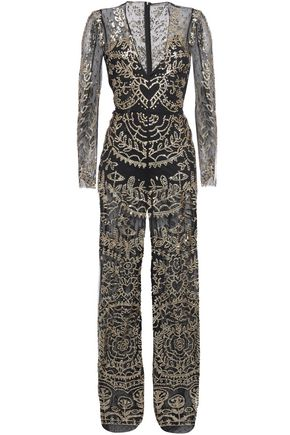 REDValentino Layered sequin-embellished point d'esprit and tulle jumpsuit