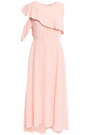 MAJE Ruffled crepe midi dress