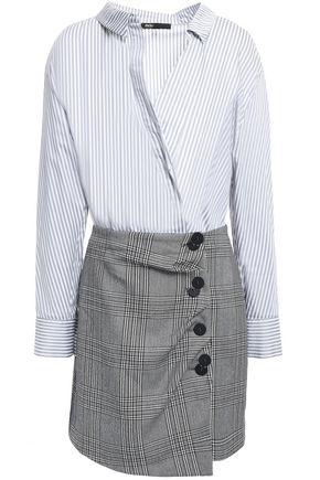 MAJE Striped cotton-poplin and checked woven mini dress