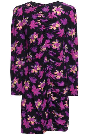 MAJE Ruched floral-print crepe mini dress