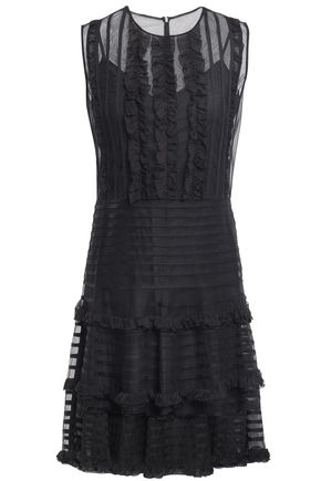 REDValentino Ruffled georgette and tulle mini dress