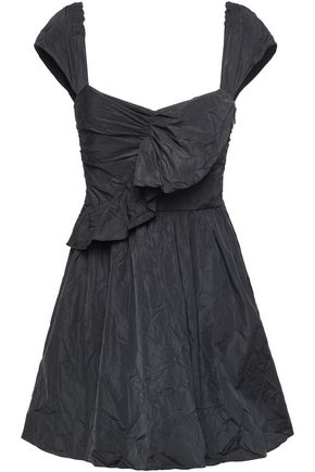 REDValentino Ruched crinkled taffeta mini dress