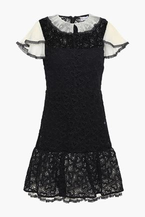 REDValentino Plissé tulle-trimmed cotton guipure lace mini dress