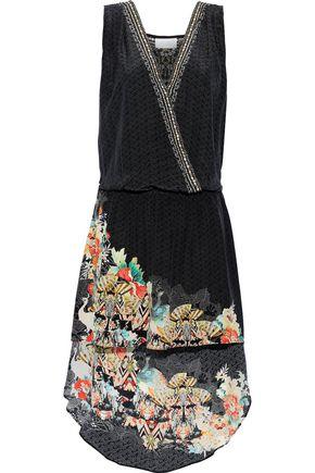 CAMILLA Night Child wrap-effect crystal-embellished printed silk-jacquard mini dress