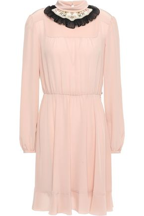 REDValentino Pleated embellished silk crepe de chine mini dress