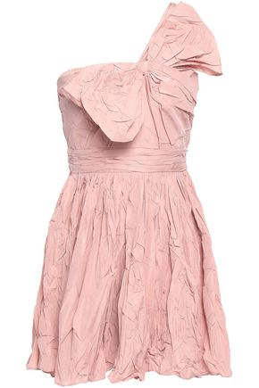 REDValentino Ruched crinkle taffeta mini dress
