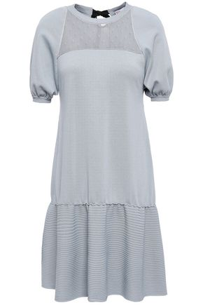REDValentino Point d'esprit-paneled stretch-knit mini dress