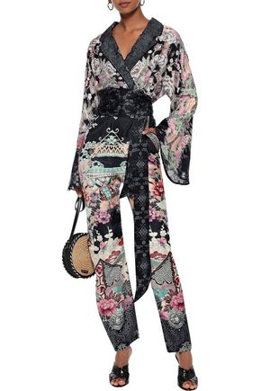 Camilla Suits CAMILLA WOMAN NIGHTS WITH HER BELTED CRYSTAL-EMBELLISHED SILK-JACQUARD JUMPSUIT MIDNIGHT BLUE