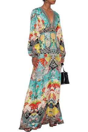 Camilla Dresses CAMILLA WOMAN GALAXY GIRL EMBELLISHED PRINTED SILK MAXI DRESS TURQUOISE