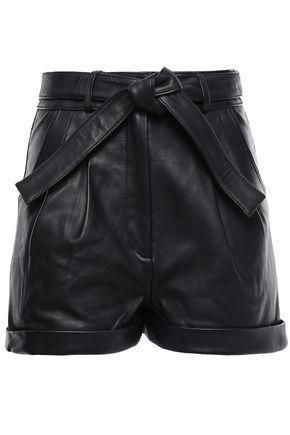 MAJE Belted leather shorts