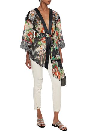 Camilla Tops CAMILLA WOMAN QUEEN KING EMBROIDERED POINT D'ESPRIT-PANELED SILK-CHIFFON KIMONO MULTICOLOR