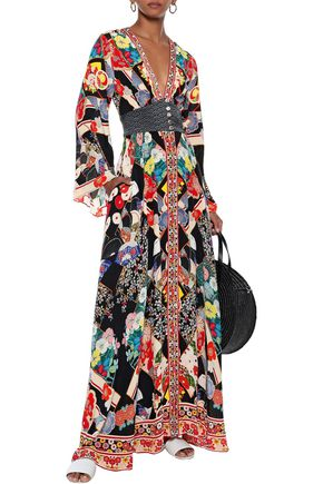 Camilla Dresses CAMILLA WOMAN STAR GIRL SHIRRED CRYSTAL-EMBELLISHED SILK CREPE DE CHINE MAXI DRESS MULTICOLOR