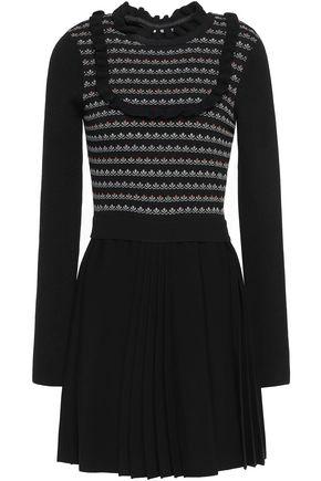 REDValentino Ruffle-trimmed jacquard and stretch-knit mini dress