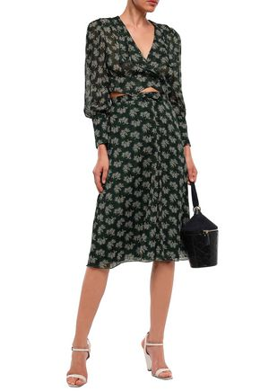 Anna Sui Woman Cropped Printed Georgette Wrap Top Forest Green
