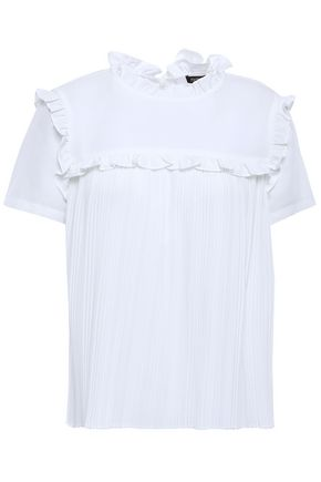 MAJE Pleated crepe de chine top