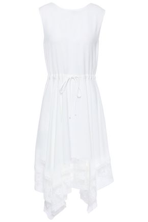 MAJE Asymmetric lace-trimmed piqué dress