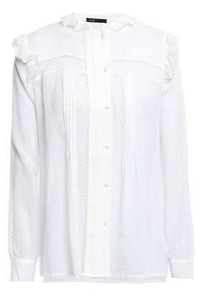 MAJE Lace-trimmed cotton-gauze shirt