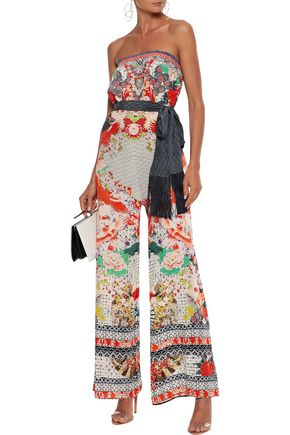 Camilla Suits CAMILLA WOMAN GEISHA GIRL STRAPLESS BELTED CRYSTAL-EMBELLISHED PRINTED SILK JUMPSUIT MULTICOLOR
