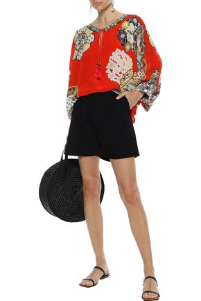 Camilla Tops CAMILLA WOMAN FOUND IN TRANSLATION PRINTED SILK CREPE DE CHINE BLOUSE TOMATO RED