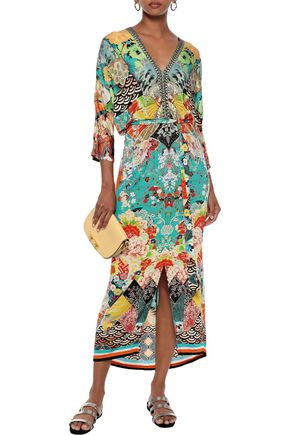 Camilla Dresses CAMILLA WOMAN GALAXY GIRL BELTED EMBELLISHED JERSEY MIDI DRESS MULTICOLOR