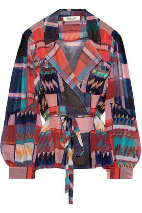 DIANE VON FURSTENBERG Joanna georgette-paneled checked silk-chiffon wrap top