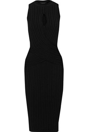 CUSHNIE Cutout ribbed-knit dress