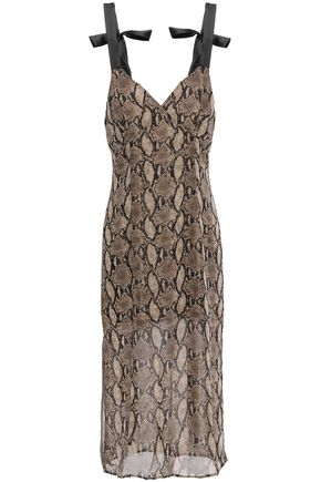 GOEN.J Bow-detailed snake-print voile dress