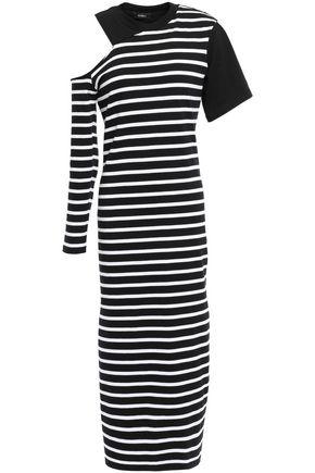 GOEN.J Cold-shoulder striped cotton-jersey midi dress