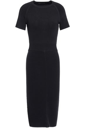 MAJE Ribbed and stretch-knit midi dress