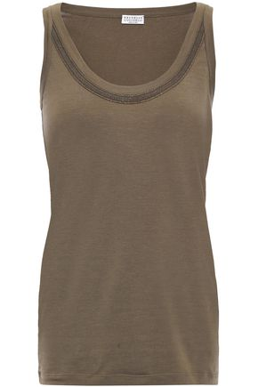 BRUNELLO CUCINELLI Bead-embellished stretch-cotton jersey tank