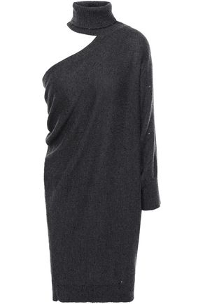 BRUNELLO CUCINELLI Cutout draped cashmere and silk-blend mini dress