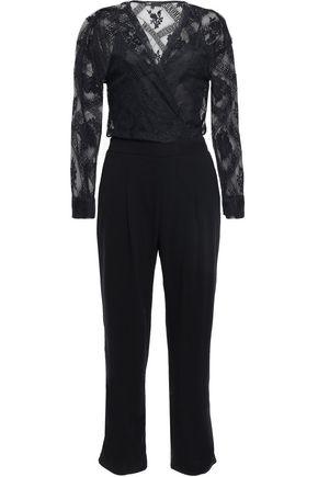 MAJE Wrap-effect lace and crepe jumpsuit