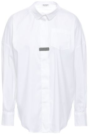 BRUNELLO CUCINELLI Bead-embellished stretch-cotton poplin shirt