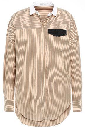 BRUNELLO CUCINELLI Sequin-embellished striped cotton-poplin shirt