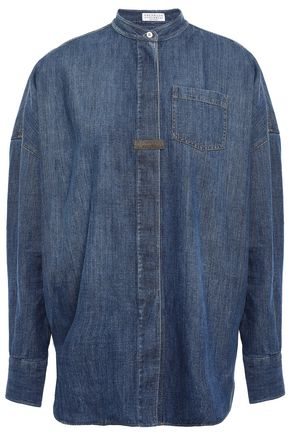 BRUNELLO CUCINELLI Bead-embellished denim shirt
