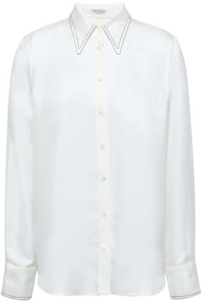BRUNELLO CUCINELLI Bead-embellished silk-twill shirt
