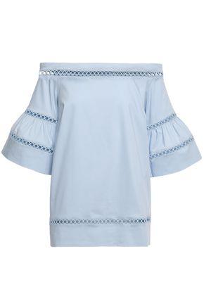 MICHAEL MICHAEL KORS Off-the-shoulder crochet-trimmed cotton-blend poplin top