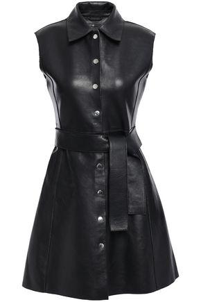 MAJE Belted leather mini dress