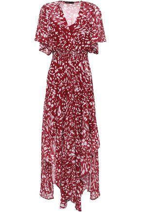 MAJE Asymmetric shirred georgette midi dress