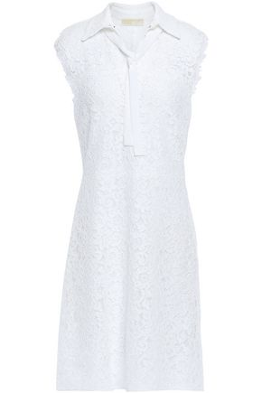 MICHAEL MICHAEL KORS Tie-neck cotton-blend corded lace mini dress