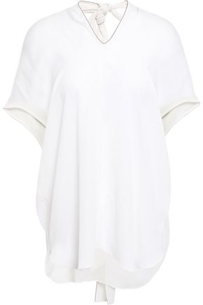 BRUNELLO CUCINELLI Open-back bead-embellished silk-crepe top