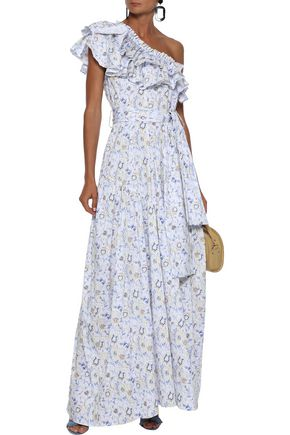 CAROLINE CONSTAS Rhea one-shoulder ruffled floral-print cotton-blend poplin maxi dress