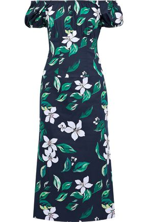 CAROLINE CONSTAS Calla off-the-shoulder floral-print stretch-cotton poplin midi dress