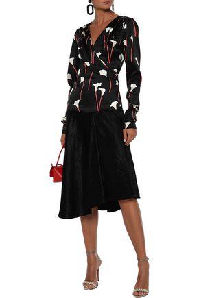 CAROLINE CONSTAS Berdine wrap-effect floral-print  stretch-silk satin blouse