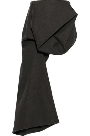 RICK OWENS Strapless gathered draped camel hair and linen-blend top