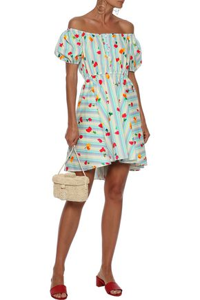 CAROLINE CONSTAS Bardot off-the-shoulder printed stretch-cotton poplin mini dress