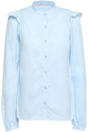 MICHAEL MICHAEL KORS Shirred ruffle-trimmed cotton-twill shirt